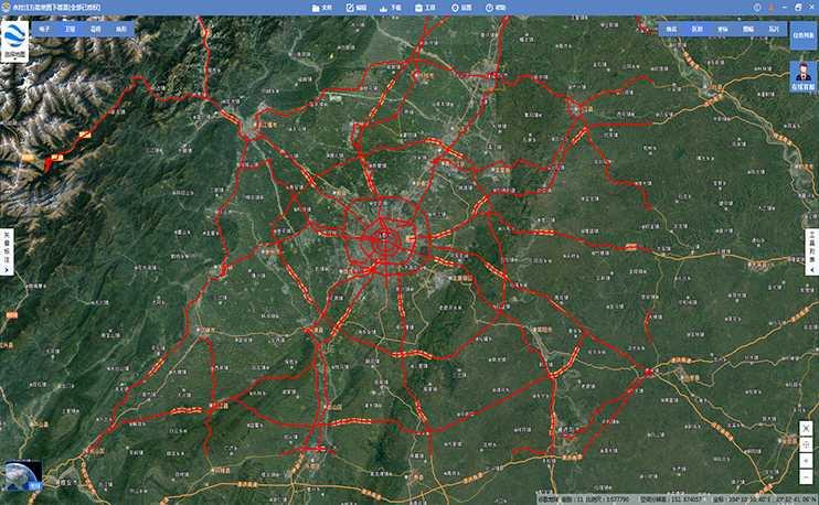 矢量道路网主要包括铁路、高速路、国道、省道、县道、地铁线路和街道等图层