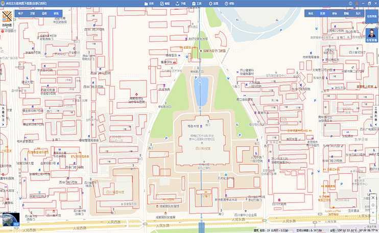 全国矢量建筑图层,由于其含有高度属性,可用于在三维场景中生成三维建筑模型