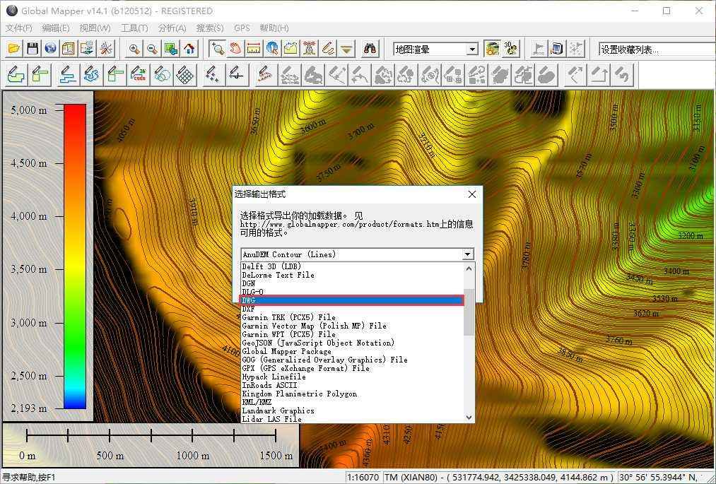 14导出dwg文件格式等高线.jpg