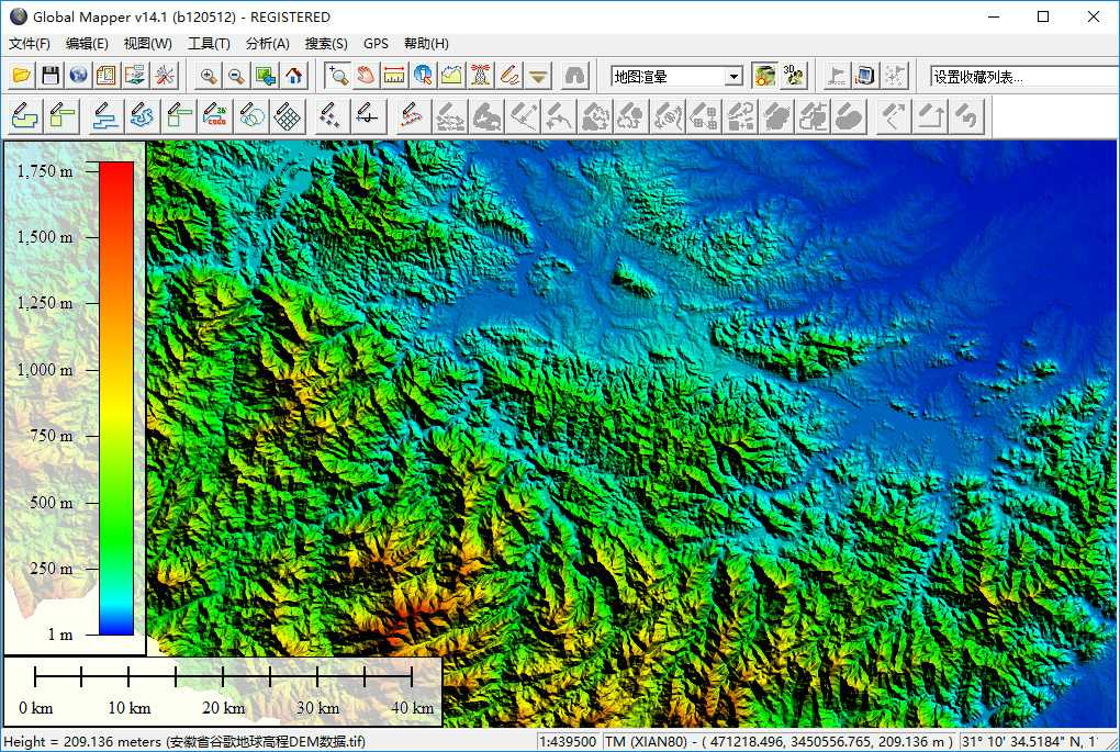 10安徽省谷歌地球高程DEM数据在GlobalMapper中查看局部数据.jpg