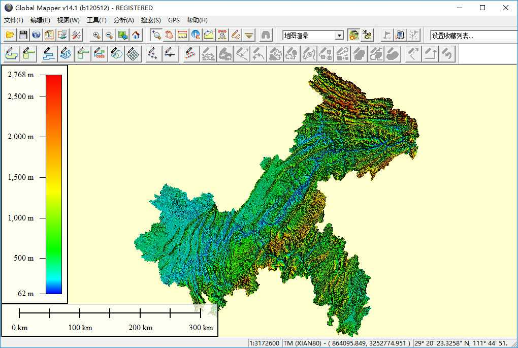10重庆市谷歌地球高程DEM数据在GlobalMapper中打开.jpg