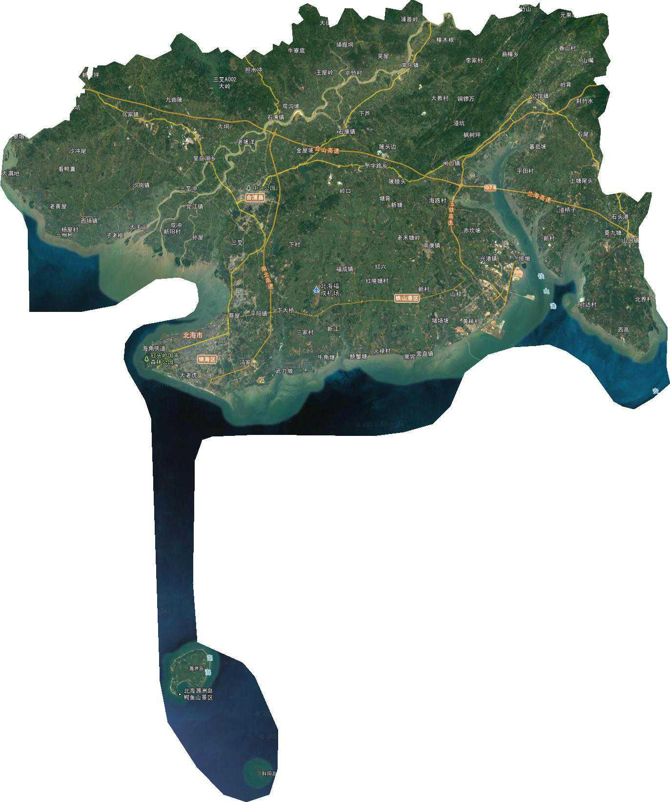 广西省北海市谷歌卫星地图下载