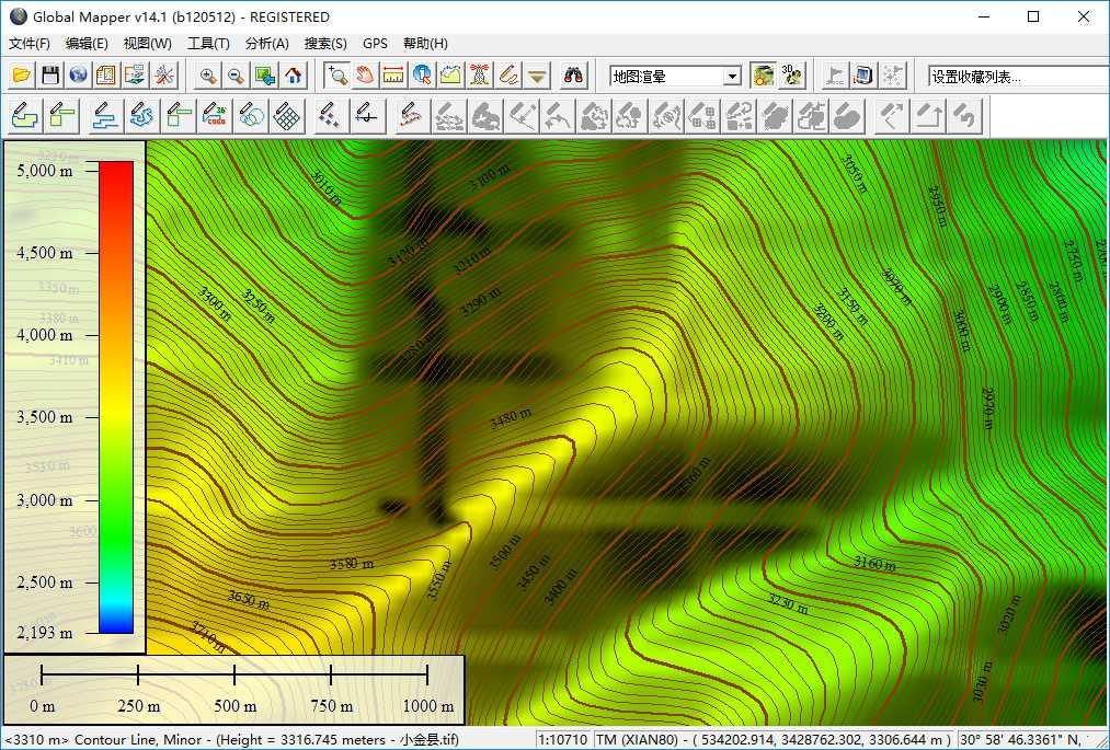 13谷歌地球高程DEM数据在GlobalMapper中生成等高线的示例.jpg