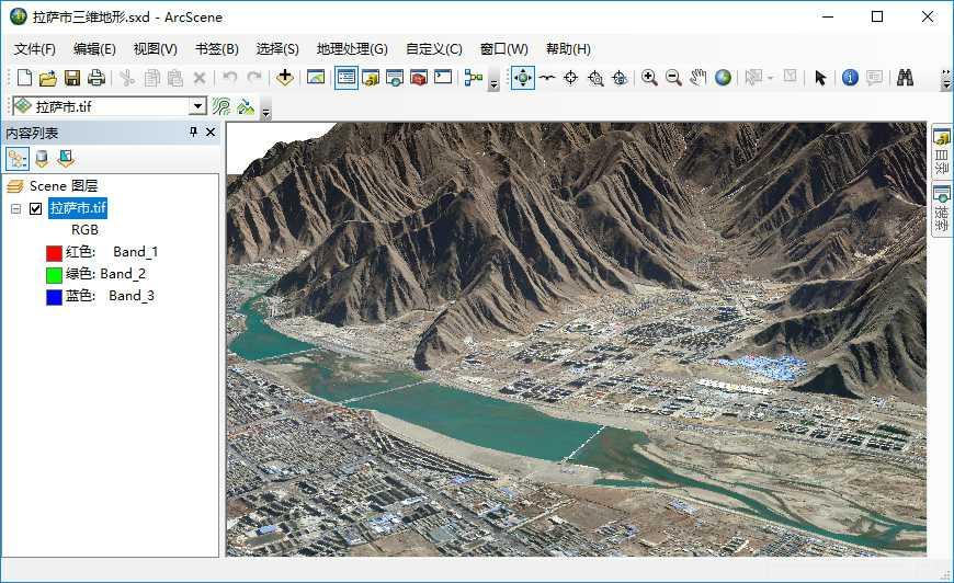 14谷歌地球高程DEM数据在ArcGIS中构建三维场景的示例.jpg