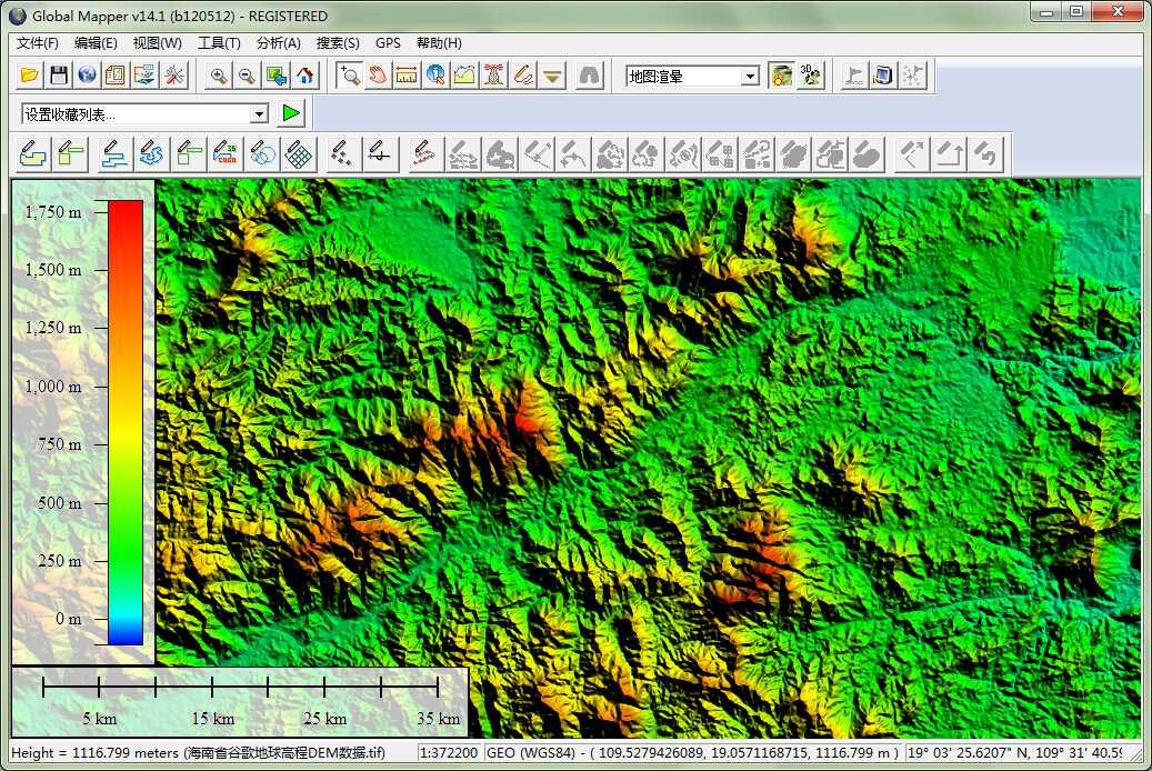 12海南省谷歌地球高程DEM数据在GlobalMapper中查看局部数据.jpg