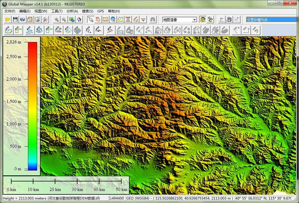 12河北省谷歌地球高程DEM数据在GlobalMapper中查看局部数据.jpg