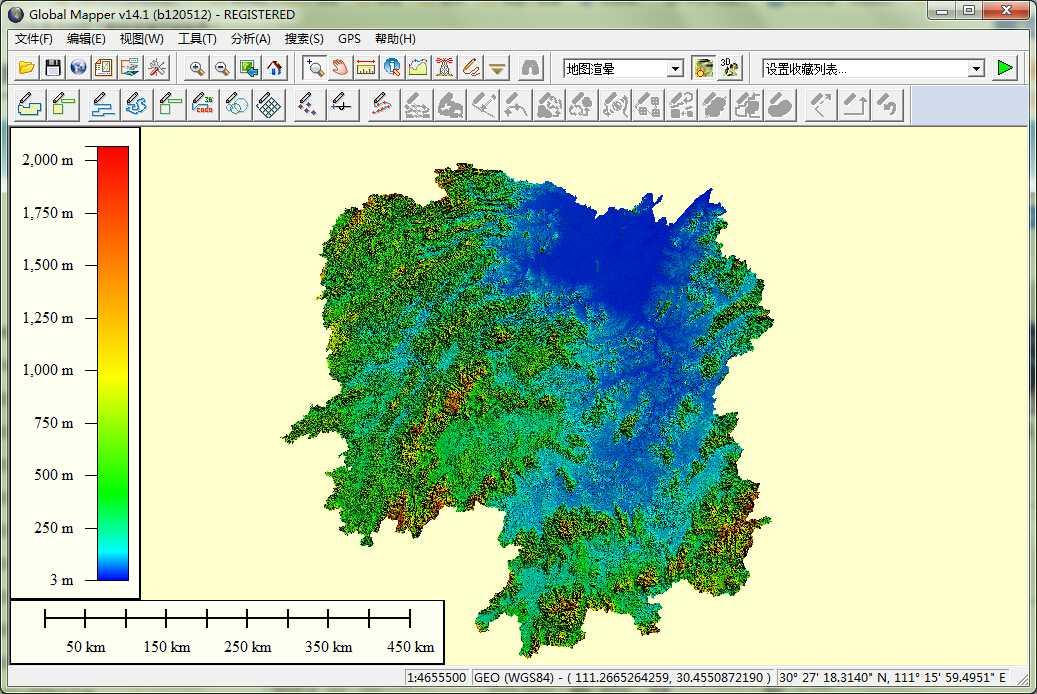 11湖南省谷歌地球高程DEM数据在GlobalMapper中打开.jpg