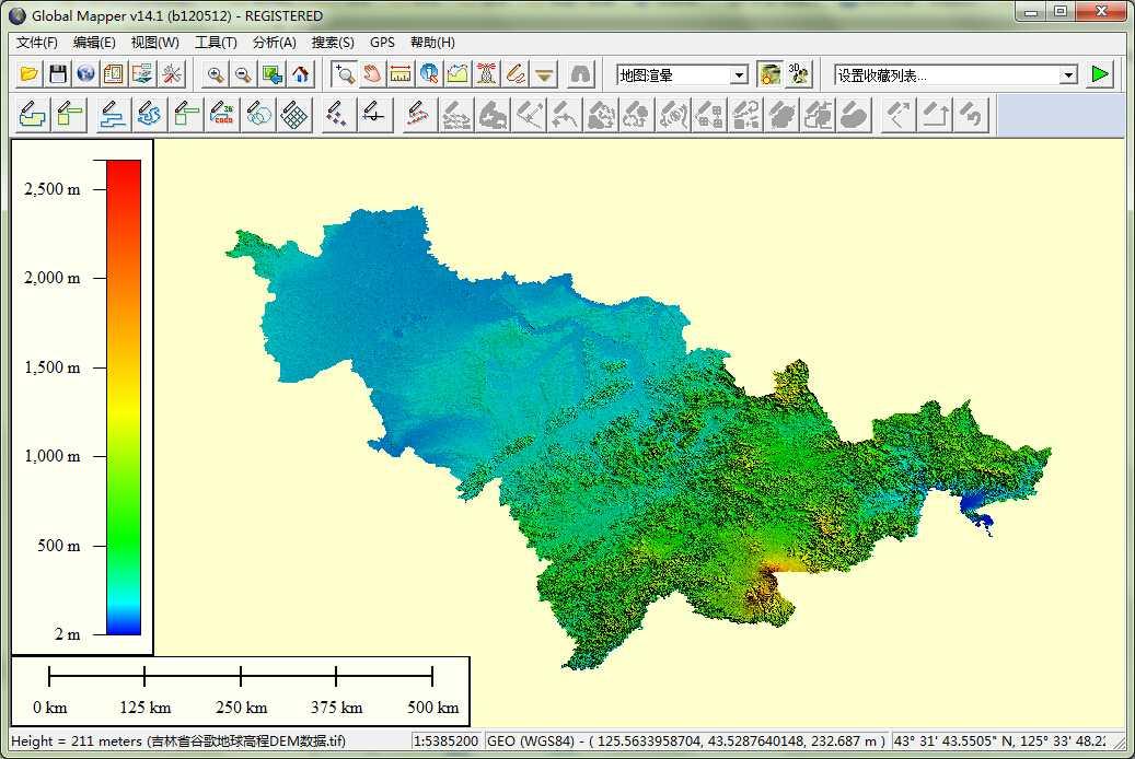 11吉林省谷歌地球高程DEM数据在GlobalMapper中打开.jpg