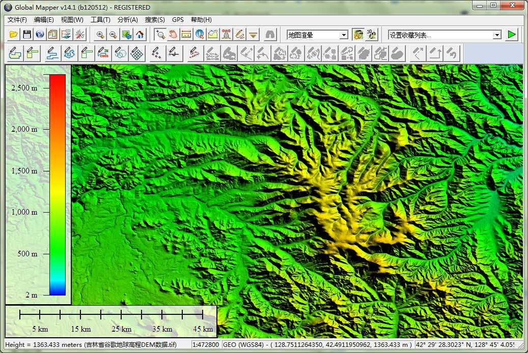 12吉林省谷歌地球高程DEM数据在GlobalMapper中查看局部数据.jpg
