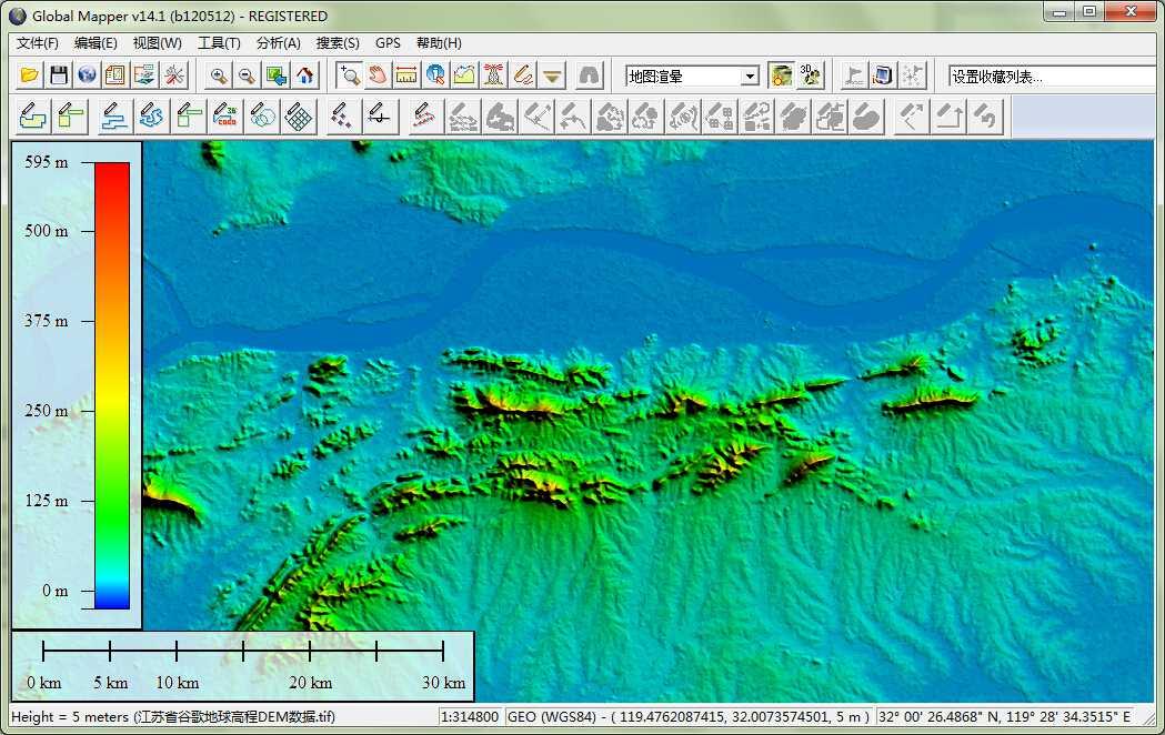12江苏省谷歌地球高程DEM数据在GlobalMapper中查看局部数据.jpg