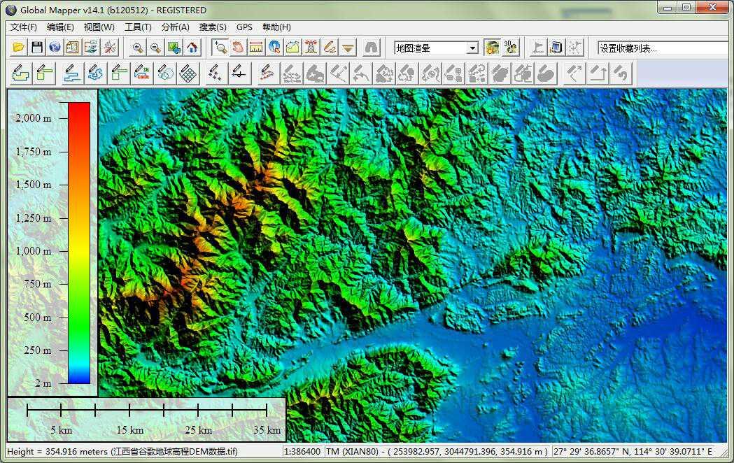 12江西省谷歌地球高程DEM数据在GlobalMapper中查看局部数据.jpg