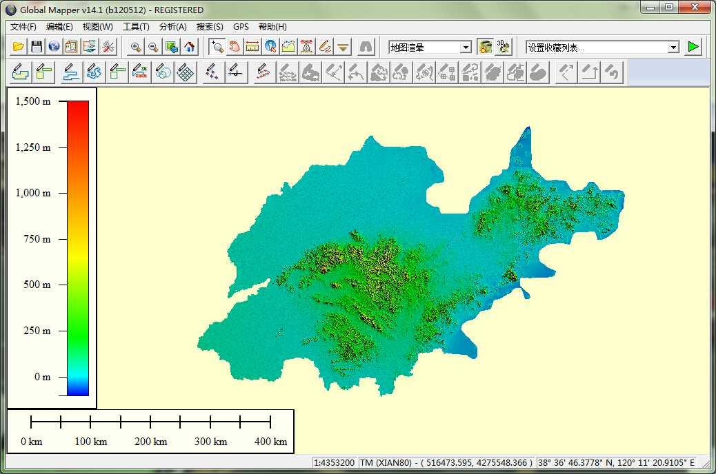 11山东省谷歌地球高程DEM数据在GlobalMapper中打开.jpg