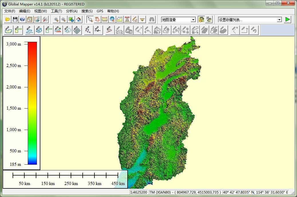 11山西省谷歌地球高程DEM数据在GlobalMapper中打开.jpg