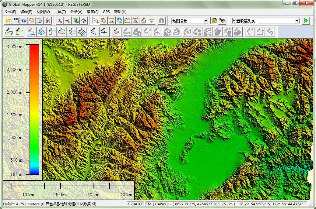 12山西省谷歌地球高程DEM数据在GlobalMapper中查看局部数据.jpg
