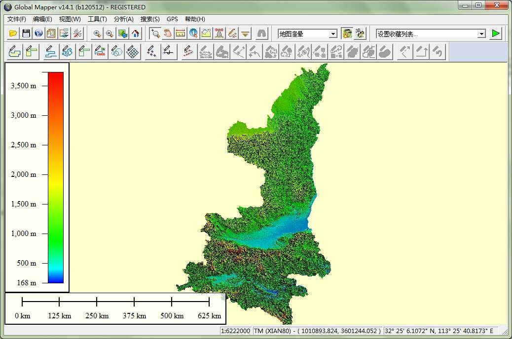 11陕西省谷歌地球高程DEM数据在GlobalMapper中打开.jpg