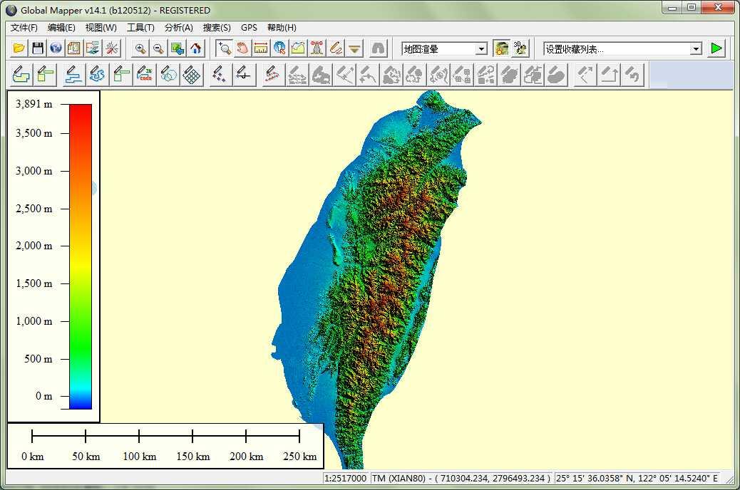 11台湾省谷歌地球高程DEM数据在GlobalMapper中打开.jpg