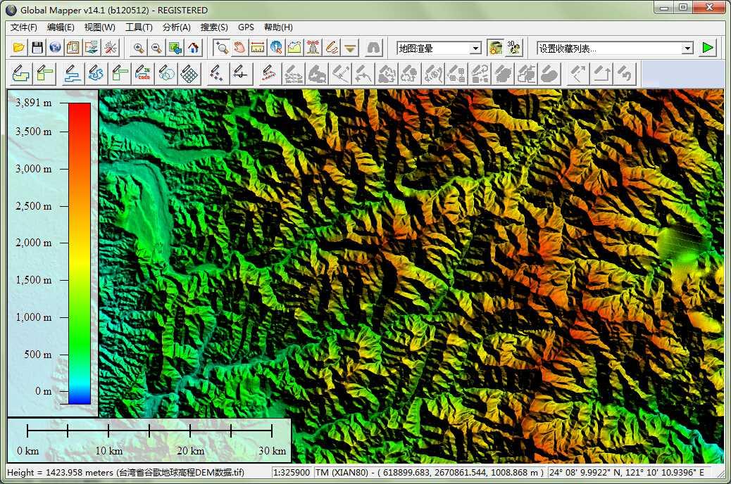 12台湾省谷歌地球高程DEM数据在GlobalMapper中查看局部数据.jpg