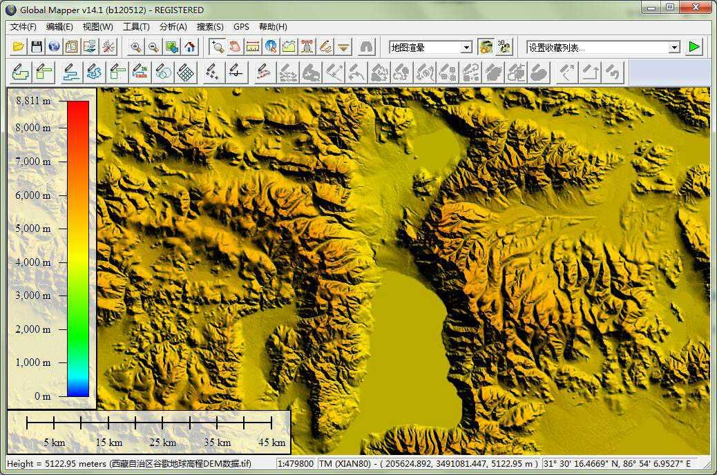 12西藏谷歌地球高程DEM数据在GlobalMapper中查看局部数据.jpg