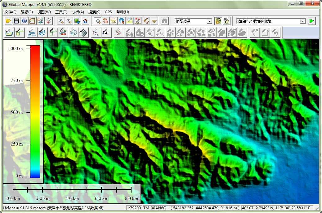 12天津市谷歌地球高程DEM数据在GlobalMapper中查看局部数据.jpg