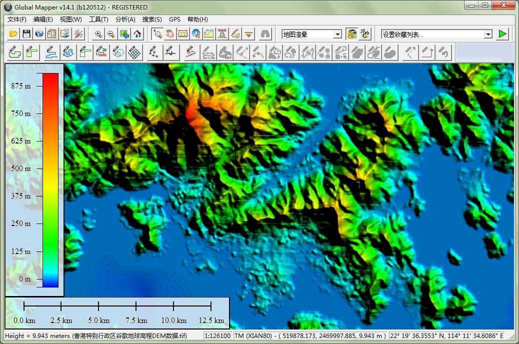 12香港市谷歌地球高程DEM数据在GlobalMapper中查看局部数据.jpg