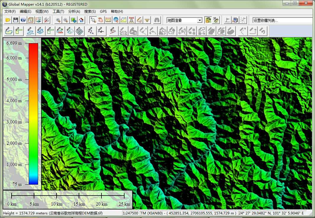 12云南省谷歌地球高程DEM数据在GlobalMapper中查看局部数据.jpg