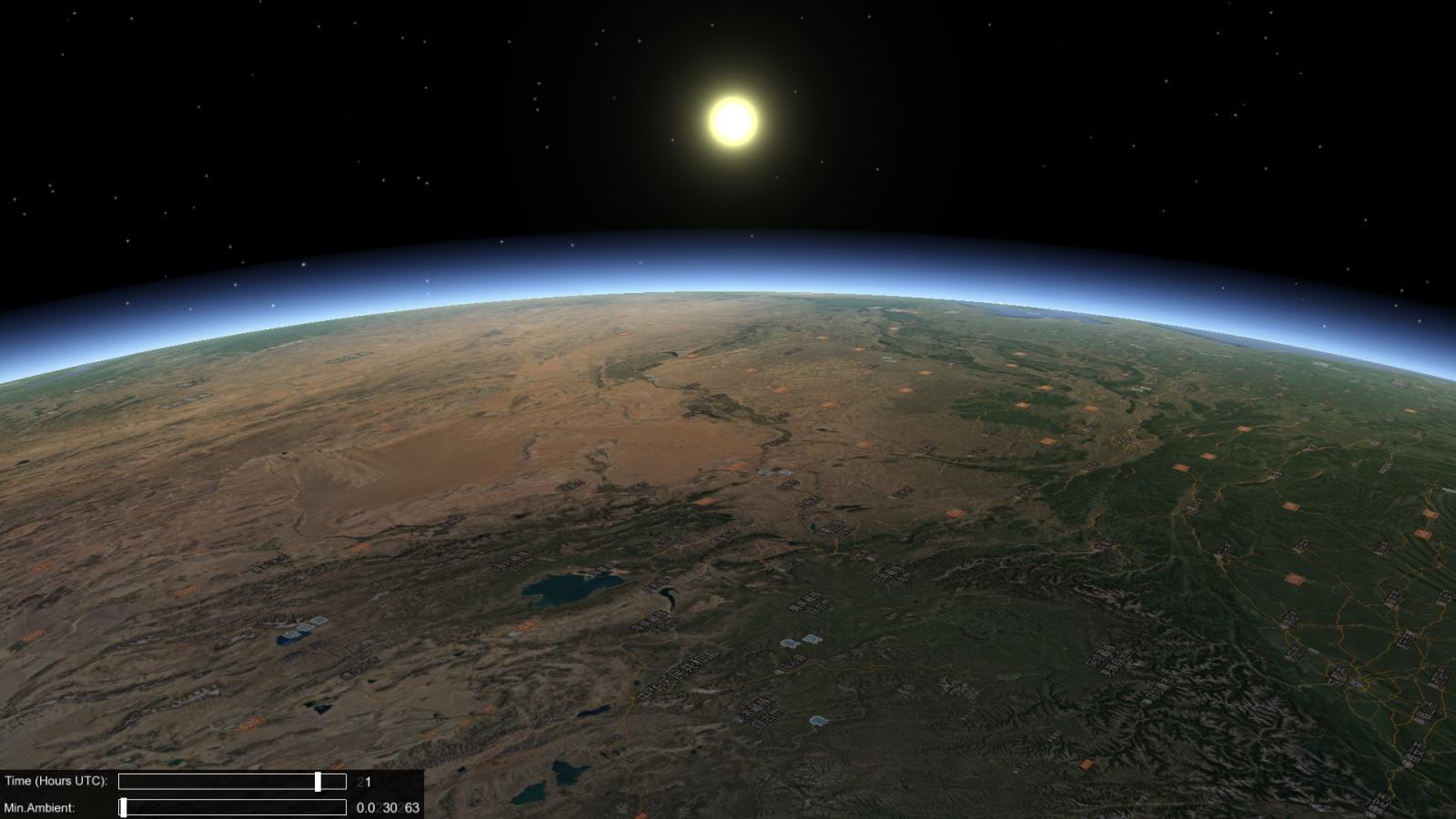 07OsgEarth中初升的太阳效果.jpg