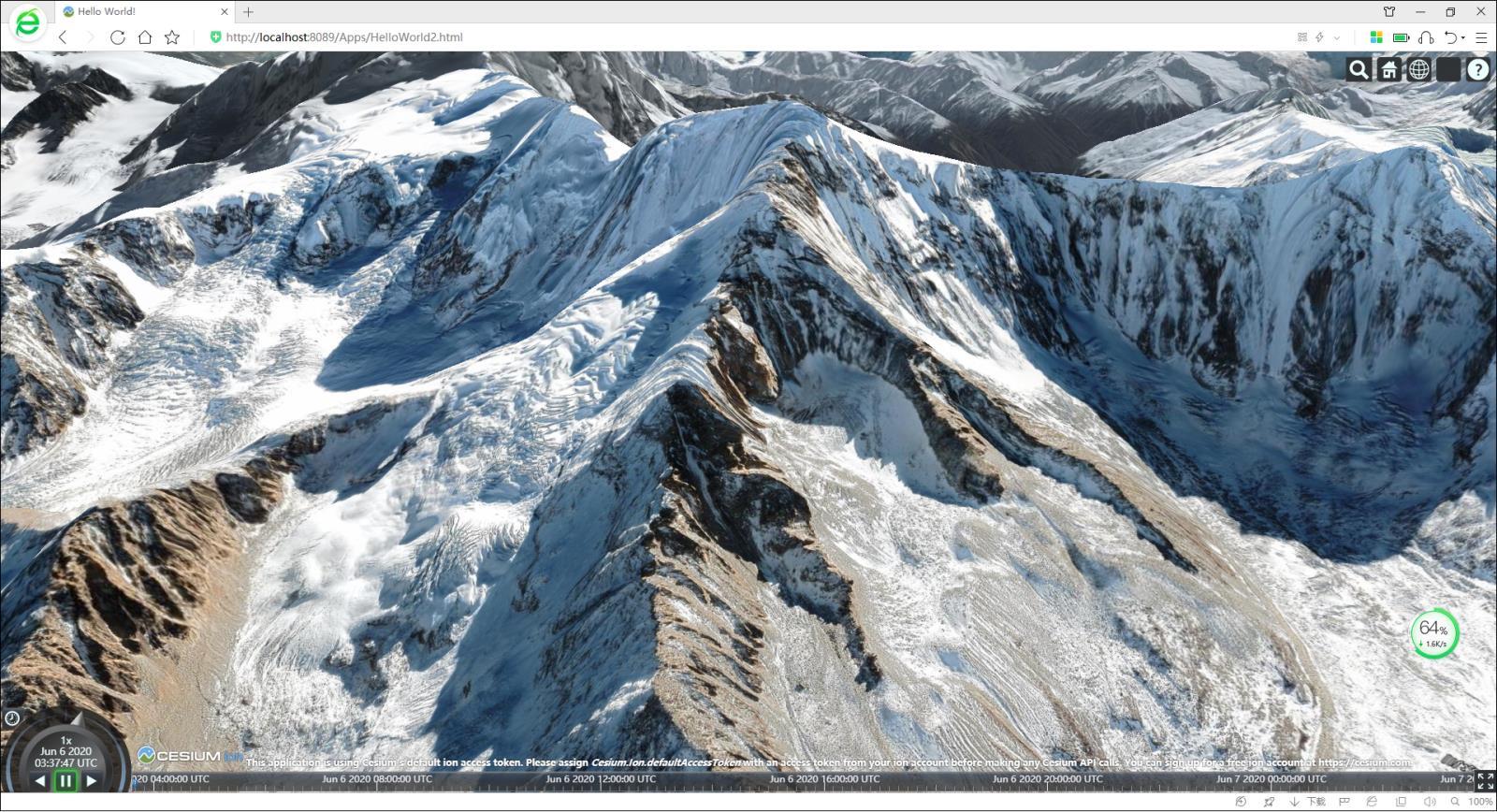 12Cesium离线三维地球中的雪山.jpg